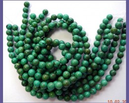STABILIZED 9-10MM CHINESE TURQUOISE ROUND BEADS-FABULOUS!