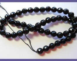 AAA 8.00MM BLACK ONYX FACETED ROUND BEADS-GREAT LUSTRE!!