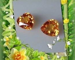 Gorgeous Golden Yellow Natural Sapphire Heart cut pair gems