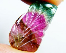 WATERMELON BI COLOUR CARVED TOURMALINE 11.40 CTS GWE 77-15