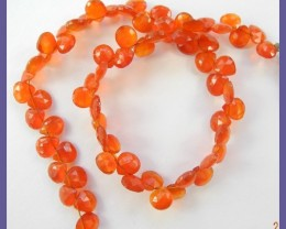 AAA 5-7MM CARNELIAN FACETED HEART BRIOLETTES-HOT!!