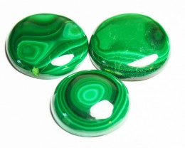 Set of three round Malachite cabochon 21mm to 19.5mm