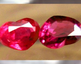 Two Classic Pidgeon Blood Burmese Rubies ~ .59ctw ~ Perfect