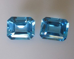 10.57cts Matching Emerald Cut Blue Topaz