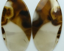 47.60 CTS DENDRITIC AGATE PAIR OF POLISHED STONES