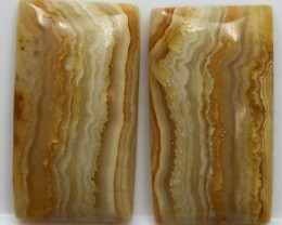 41.80 CTS BANDED AGATE TOP POLISHED PAIR