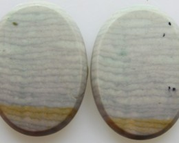 33.30 CTS WAVE JASPER PAIR FLAT CAB POLISHED STONE