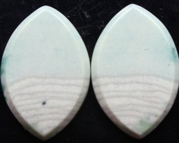 21.20 CTS WAVE JASPER PAIR FLAT CAB POLISHED STONE