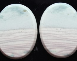 29.30 CTS WAVE JASPER PAIR FLAT CAB POLISHED STONE