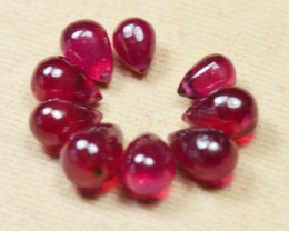 Ruby Briolettes Parcel of 9 side drilled FF 6-7.25mm 16.81ct