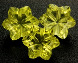 10.77 CTS VVS LEMON QUARTZ FLOWER CARVING [QTZ12]