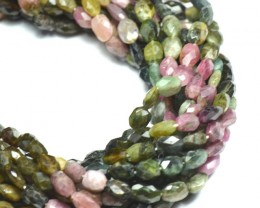 7mm WATERMELON TOURMALINE  faceted tumble beads 14""