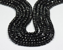 "14"" line 6mm Diamond Polished BLACK SPINEL beads AAA"