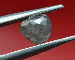1.05ct grey heart shape diamond rose cut 6.55 by 6.45 by 2.8mm