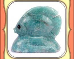 ** 262.0ct Zambian Amazonite Fish Carving **