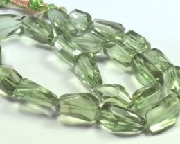 16 inch line green  prasiolite beads