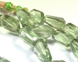 "8"" line 23 to 20mm AAA irregular cut Prasiolite Green beads"