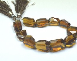 """20 to 22mm Vintage Cognac Quartz AAA facet beads 8"""" line"""