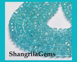"5mm - 4mm APATITE faceted beads 14.5"" line AAA  AP011"