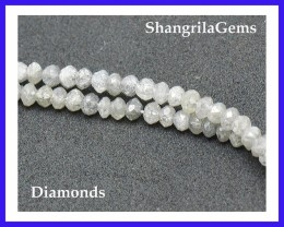 "1.5mm - 2mm White & silver 15.25"" Diamond beads 13.95cts"