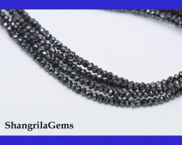 "One line 1.5mm to 2mm Black Diamond beads 15.25"" Supreme cut"