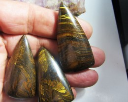 200 CTS  THREE  AUSSIE TIGER EYE GEMSTONE   MS 1487