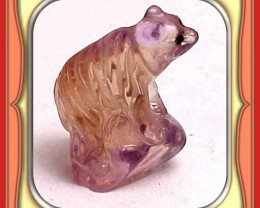 **21.4ct Gem Bolivian Ametrine Carved Bear **