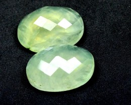 25mm Pair of faceted PREHNITE gemstone cabochon 25 x 18 x 9