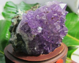 0.350 KILO AMETHYST   SPECIMEN  ON WOOD STAND MS 1894