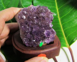 0.353 KILO AMETHYST   SPECIMEN  ON WOOD STAND MS 1895
