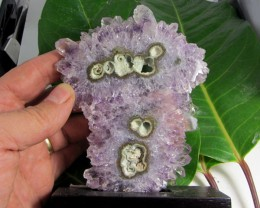 1110CTS AMETHYST STALACTITE  SPECIMEN  ON WOOD STAND MS 1899