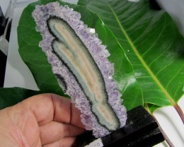280CTS AMETHYST STALACTITE   SPECIMEN  ON WOOD STAND MS 1908