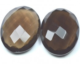 28mm 76ct oval Smokey Quartz checker cut faceted gemstone
