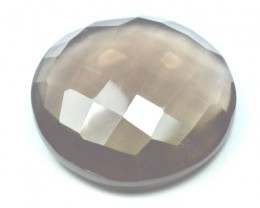 21mm round Smokey Quartz checker cut  faceted gemstone
