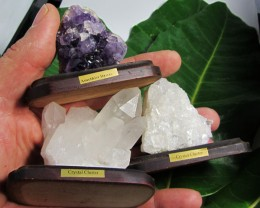 .294 KILO  3X  AMETHYST/CRYSTAL  SPECIMENS  ON STAND MS 1918