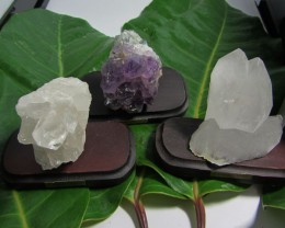 .288 KILO  3X  AMETHYST/CRYSTAL  SPECIMENS  ON STAND MS 1920
