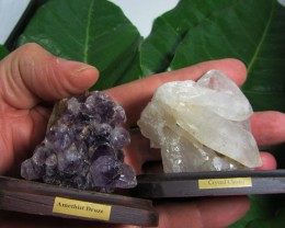 .229  KILO  2  AMETHYST/CRYSTAL  SPECIMENS  ON STAND MS 1921