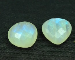 15mm pair heart faceted Rainbow Moonstone cabochon