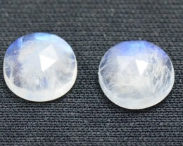 10mm pair Rose cut Rainbow Moonstone 10mm round by 5mm deep