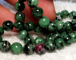 220 Tcw. Ruby Zoisite Strand, 15.75 In, 8mm pcs. - Gorgeous