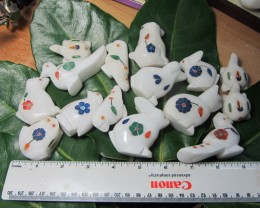 TRADE DEAL 15  PCS MIXED ANIMAL  MARBLE INLAID    MS 1965