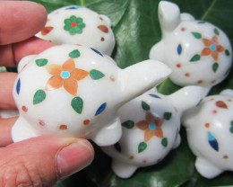 TRADE DEAL  7 PCS TURTLE  MARBLE INLAID    MS 1972
