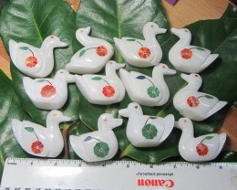 TRADE DEAL  12 PCS  SWAN/DUCK MARBLE INLAID    MS 1974