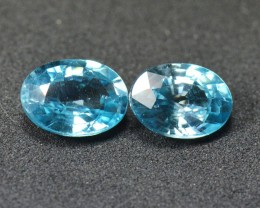 Pair Cambodian BLUE ZIRCON 7.2 x 5.3&7.1x5.2mm 2.33ct IF/VVS
