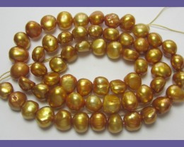 """7.00MM COPPERY GOLD FRESHWATER NUGGET PEARL STRAND"""