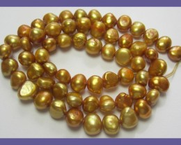 7.00MM COPPERY GOLD FRESHWATER NUGGET PEARL STRAND!!