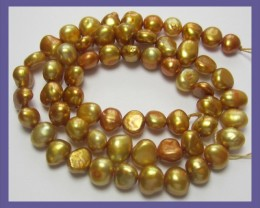 7.00MM COPPERY GOLD FRESHWATER NUGGET PEARL STRAND