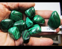 225 GRAMS  10 PIECES   CONGO  MALACHITE TUMBLED  MS 2022