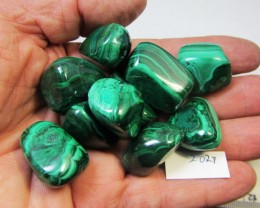 217 GRAMS  10 PIECES   CONGO  MALACHITE TUMBLED  MS 2027