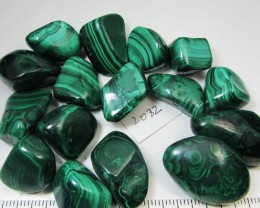 0.403 GRAMS  16PIECES   CONGO  MALACHITE TUMBLED  MS 2032